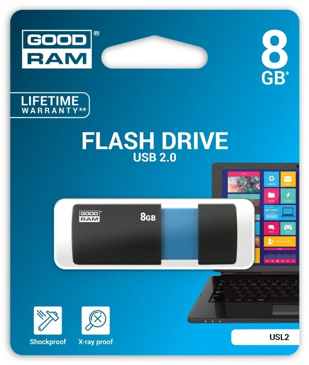 GoodRam Pendrive (Pamięć USB) 8 GB USB 2.0 Czarno-niebieski