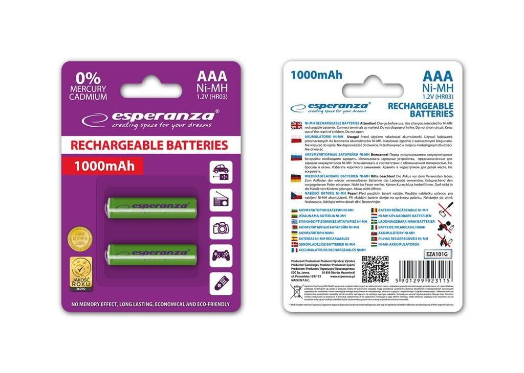 Esperanza EZA101G - 5901299923115 EZA101G - Akumulatorki Ni-MH AAA 1000MAH 2 SZTUKI - ZIELONE