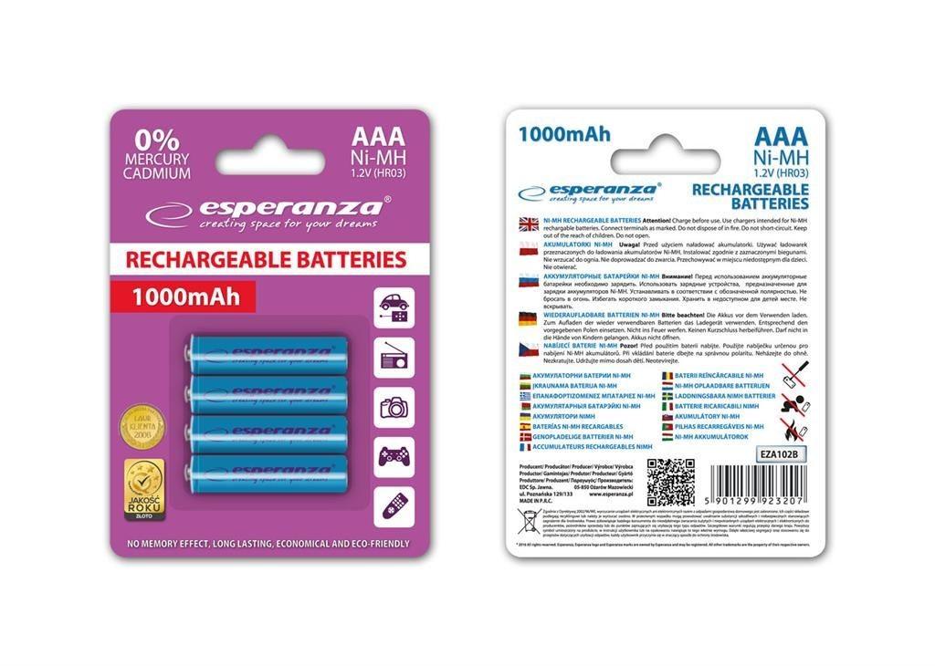 Esperanza EZA102B - 5901299923207 EZA102B - Akumulatorki Ni-MH AAA 1000MAH 4 SZTUKI - NIEBIESKIE