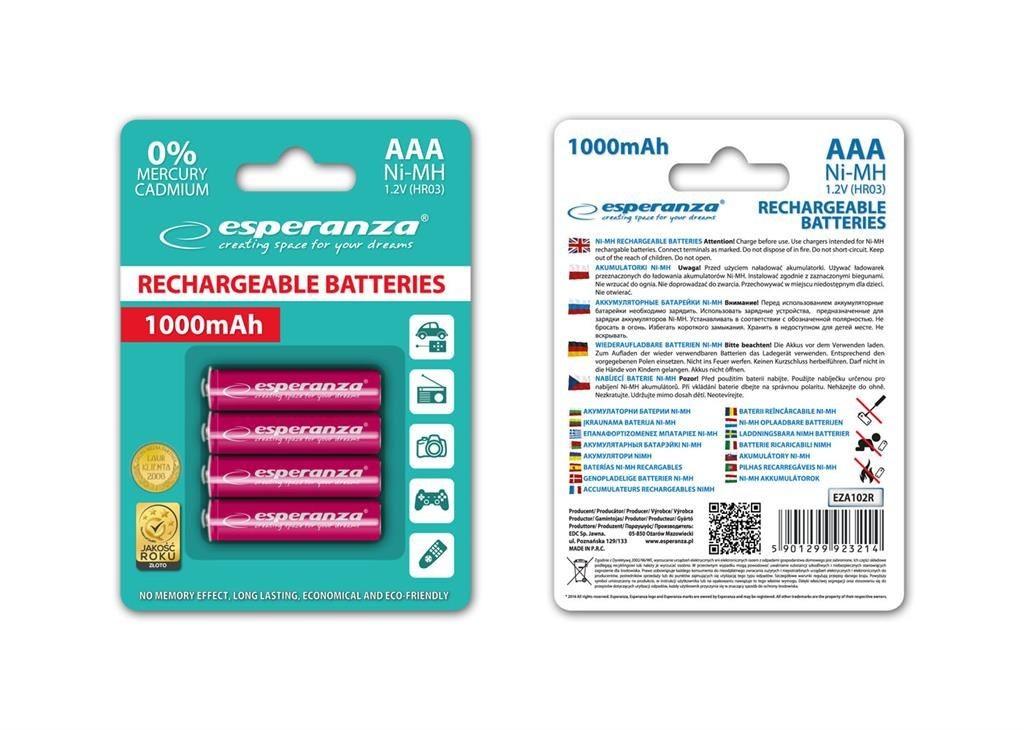 Esperanza EZA102R - 5901299923214 EZA102R - Akumulatorki Ni-MH AAA 1000MAH 4 SZTUKI - CZERWONE