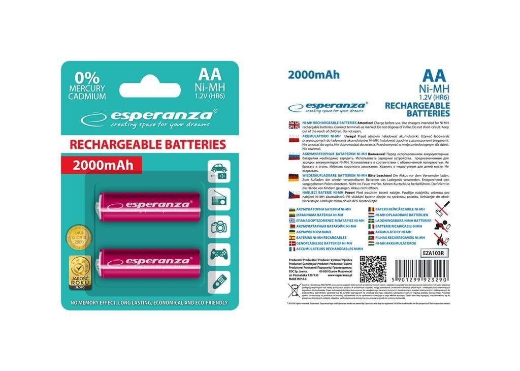 Esperanza EZA103R - 5901299923290 EZA103R - Akumulatorki Ni-MH AA 2000MAH -2 SZTUKI - CZERWONE