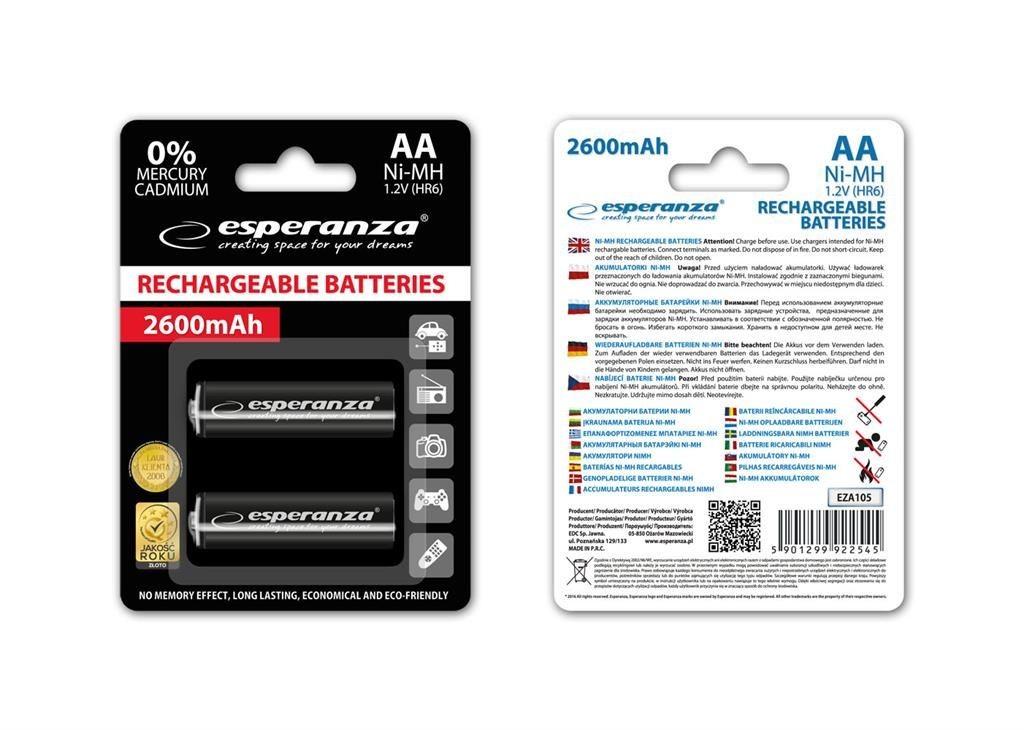 Esperanza Akumulatory NI-MH AA 2600mAh czarne