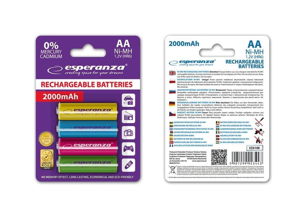 Esperanza Akumulatory AA 2000mAh 4szt. mix kolorów