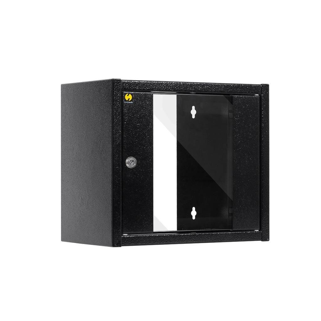 Netrack szafa wisząca 10'', 6U/300 mm - czarny, drzwi przeszklone