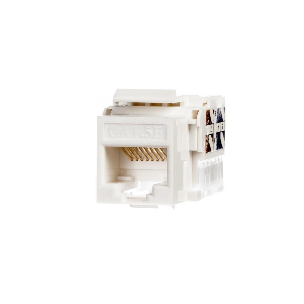 Netrack moduł Keystone Jack 1xRJ45 8p8c UTP Cat5e LSA z zaciskiem (biały)