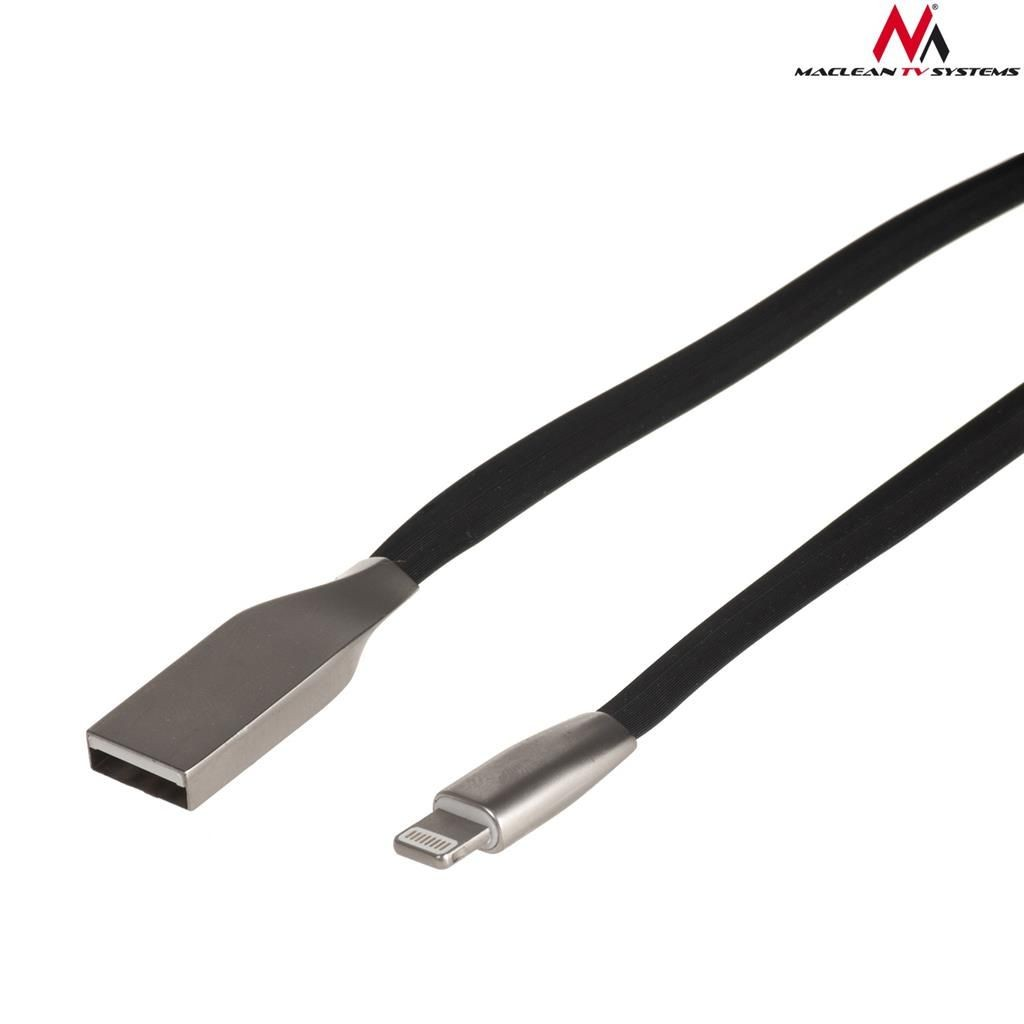 Maclean MCTV-832B Kabel USB AM iphone 8PIN płaski nieplączący 1m czarny metal
