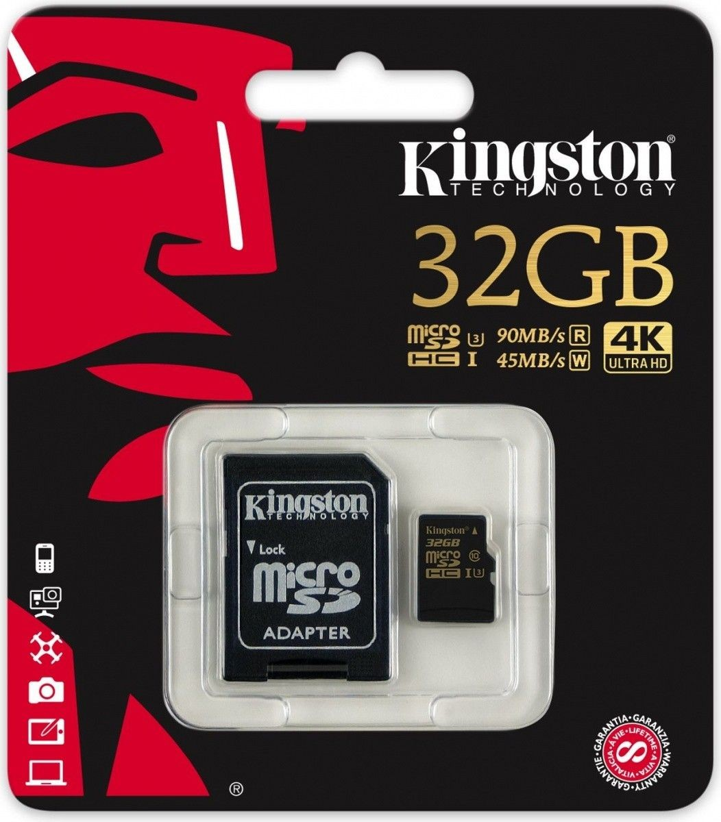 Kingston Karta pamięci Kingston microSDHC 32GB Class 10 UHS-I (U3) (45W/90R MB/s) Gold Series + adapter