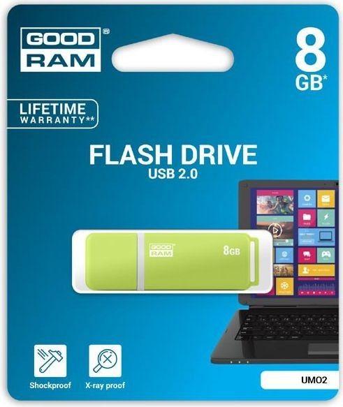 GoodRam Pamięć USB UMO2 8GB USB 2.0 Zielona