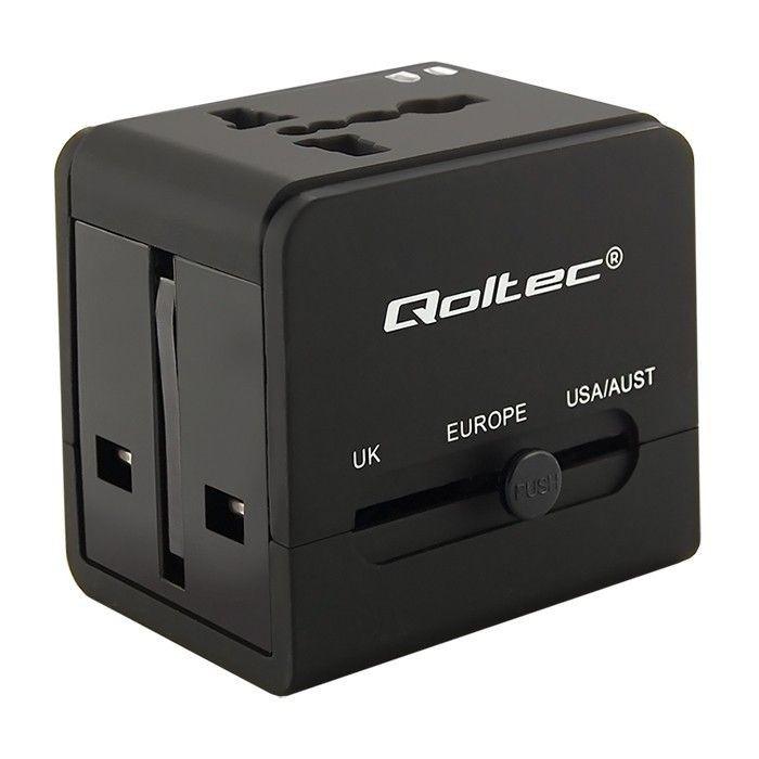 Qoltec 50133 Uniwersalny adapter podróżny 10.5W 5V 2.1A 2xUSB