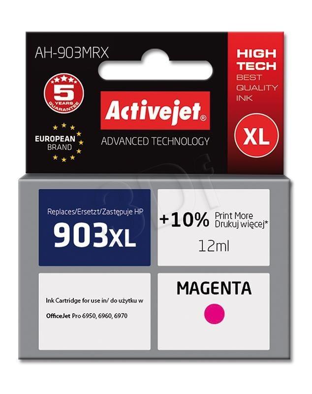 ActiveJet Tusz AH-903MRX (do drukarki Hewlett Packard zamiennik 903XL T6M07AE premium 12ml magenta Chip)