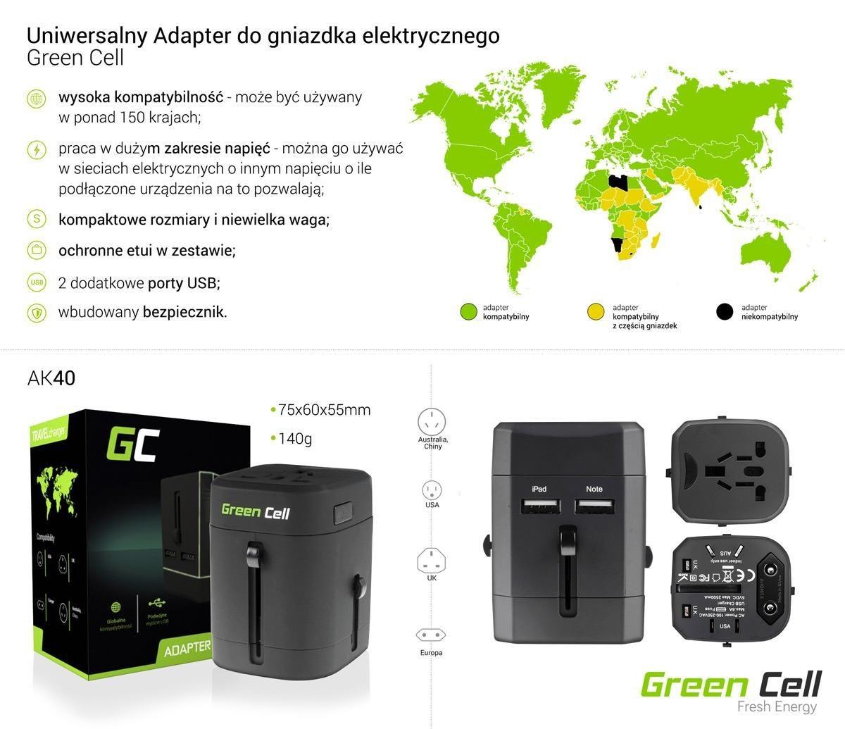 Green Cell Adapter wtyku zasilania Europa Ameryka UK Australia + USB