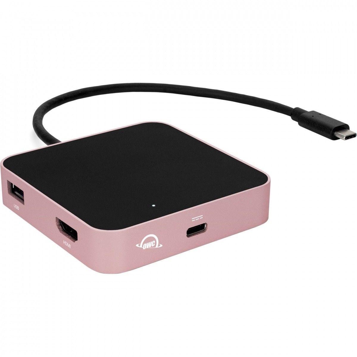 OWC USB-C Travel Dock (5 portów, pass through 60W) Rose Gold