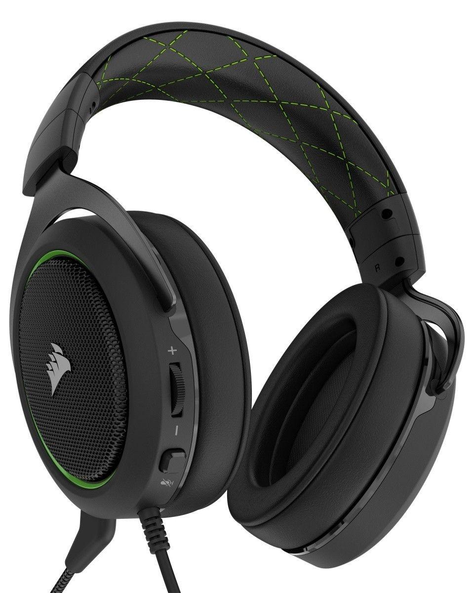 Corsair CA-9011171-EU słuchawki gamingowe HS50 Stereo, Zielone (EU)