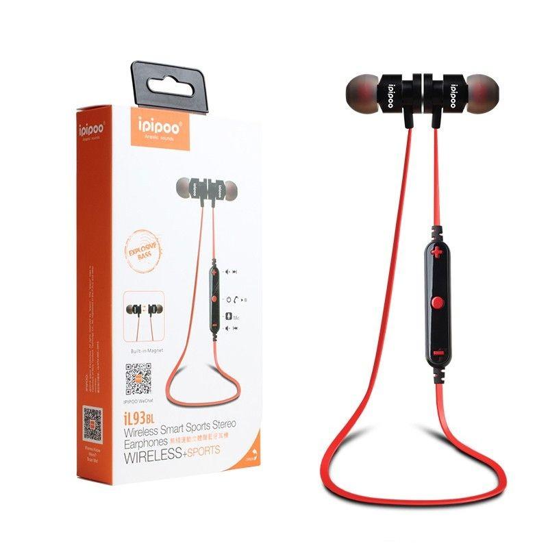 ipipoo iL93BL Czarno-czerwone by AWEI douszne słuchawki bezprzewodowe Bluetooth 4.2