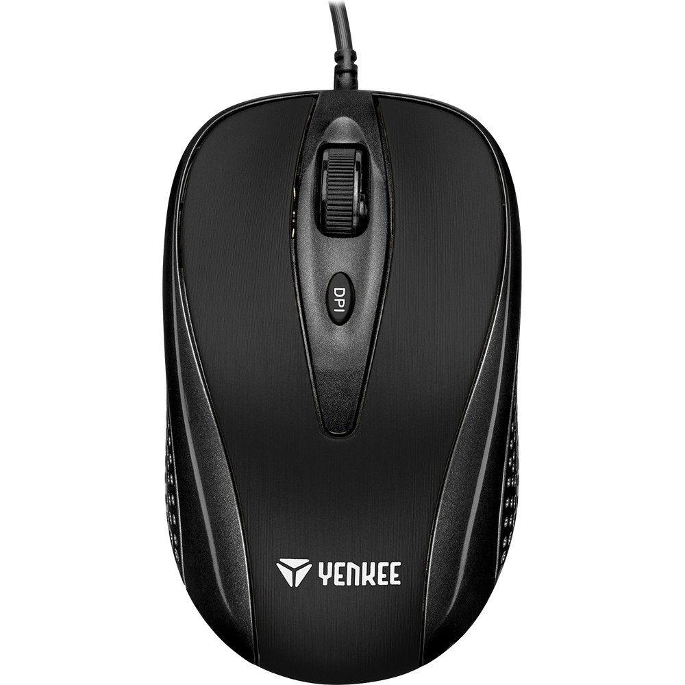 YENKEE Mysz przewodowa USB, 4 przyciski, YMS 1025BK, optyczna