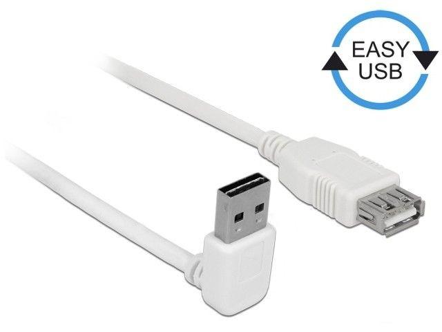 DeLOCK Kabel USB AM-AF 2.0 2m biały kątowy góra/dół Easy USB