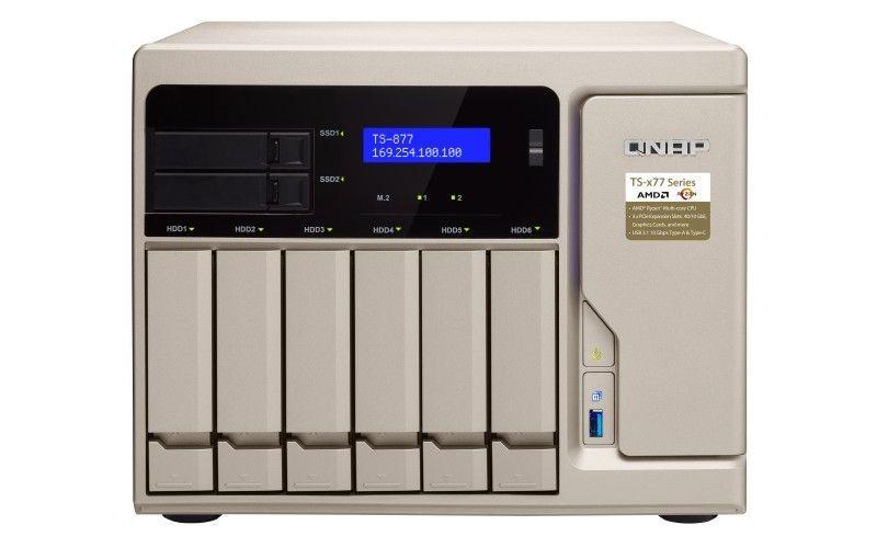 QNAP TS-877-1600-8G 8-Bay NAS, 8GB DDR4 RAM, AMD Ryzen 5 3,2GHz, 2xM.2, 4xGbE LAN, 10GbE Ready