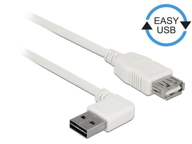 DeLOCK Kabel USB AM-AF 2.0 1m biały kątowy lewo/prawo Easy-USB