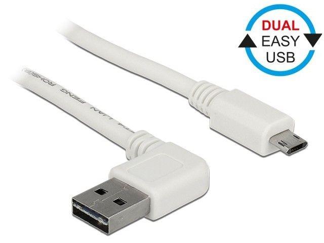 DeLOCK Kabel USB micro AM-BM 2.0 3m biały kątowy lewo/prawo Dual Easy USB