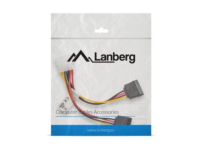 LANBERG Kabel Molex zasilający - SATA x2 M/F 15cm