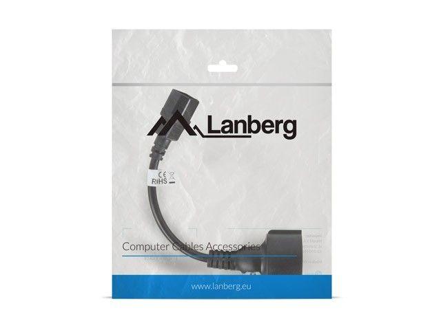 LANBERG Przedłużacz kabla zasilającego IEC 320 C14 - Schuko 20cm czarny