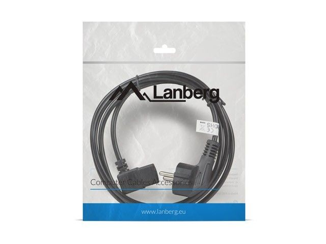 Lanberg Kabel zasilający CEE 7/7 - IEC 320 C13 kątowy VDE 1.8M czarny