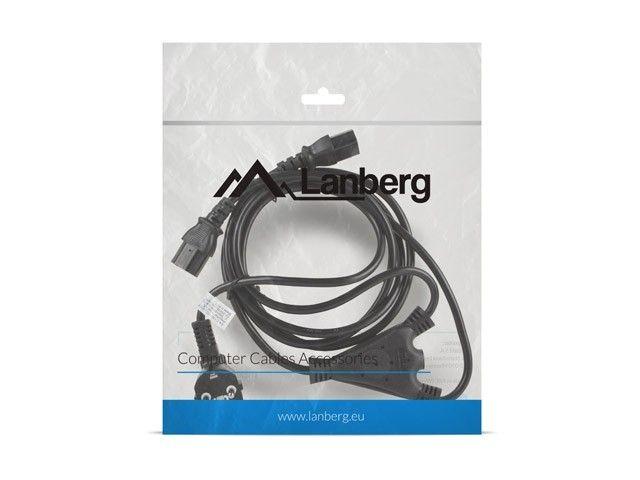 Lanberg Kabel zasilający CEE 7/7 - 2x IEC 320 C13 VDE 2M czarny