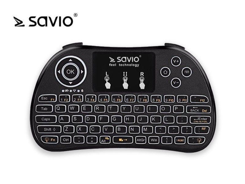 Savio Klawiatura bezprzewodowa podświetlana KW-02 Android TV Box, Smart TV, PS3, XBOX360, PC
