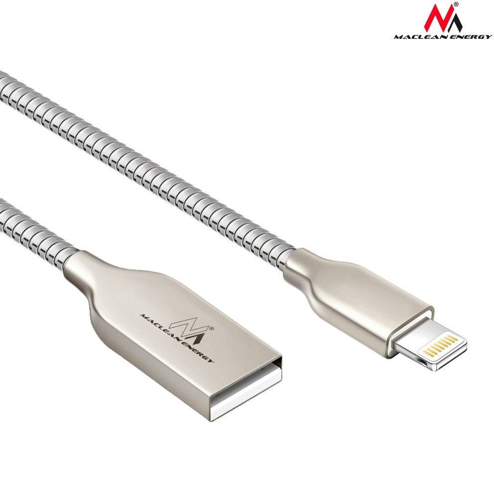 Maclean MCE191 Kabel USB Lightning iPhone metalowy silver Quick & Fast Charge