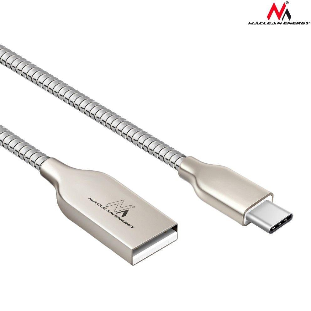 Maclean Kabel USB Type-C metalowy MCE192 - Quick & Fast Charge Srebrny