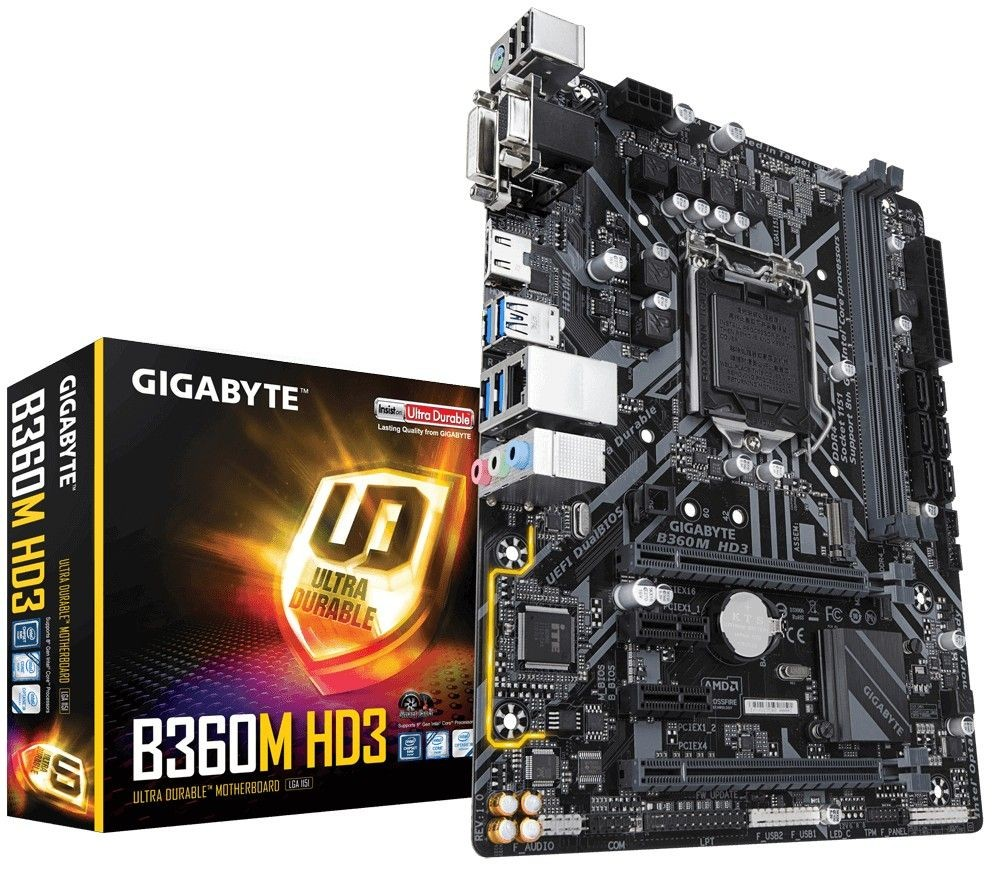 Gigabyte B360M HD3, DDR4, PCI-E 3.0 x16, DVI-D/HDMI