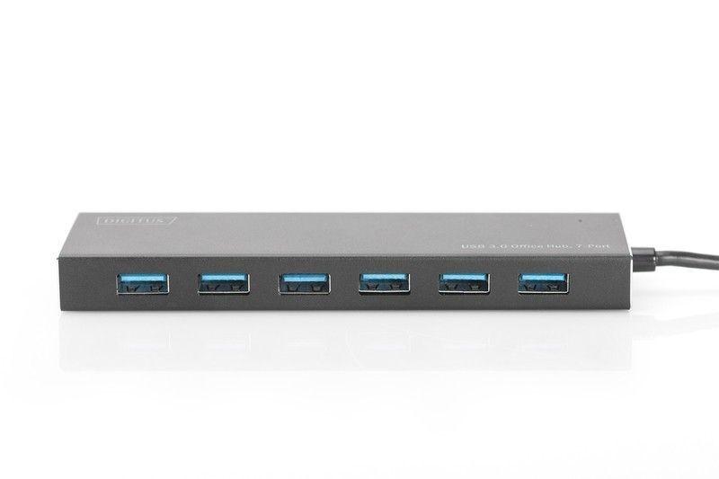 Digitus HUB/Koncentrator 7-portowy USB 3.0 SuperSpeed, aktywny, aluminium