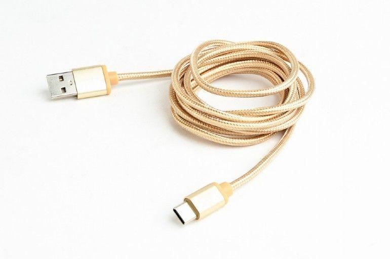 Gembird Kabel USB Typ-C oplot tekstylny/1.8m/złoty