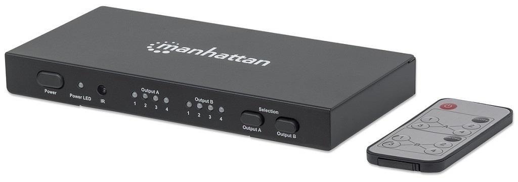 Manhattan Przełącznik splitter Matrix AV HDMI 4x2 1080p 3D z pilotem IR