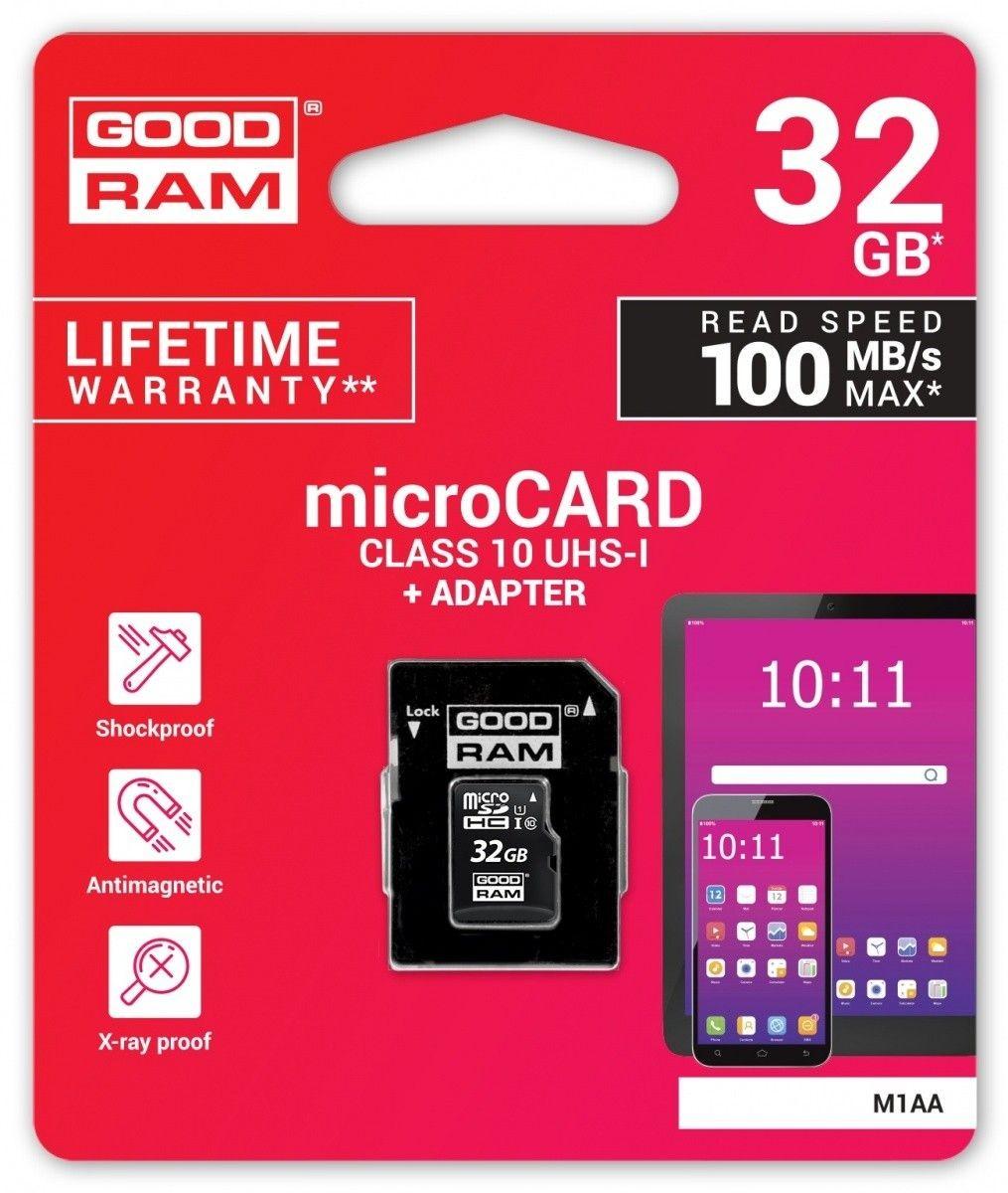 GoodRam Karta pamięci microSDHC 32GB CL10 + adapter