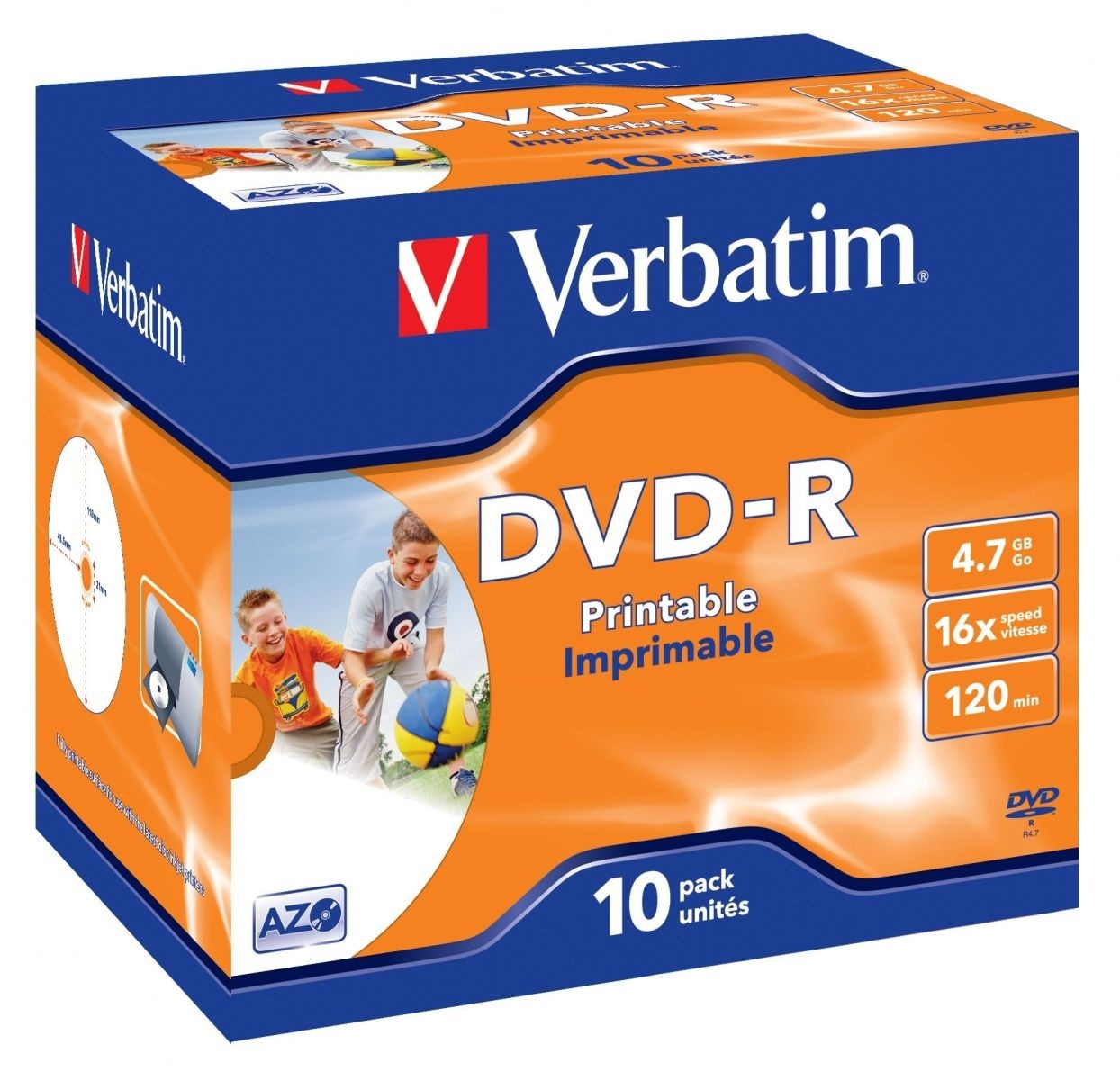 Verbatim DVD-R 16x 4.7GB 10P JC PRINTABLE 43521