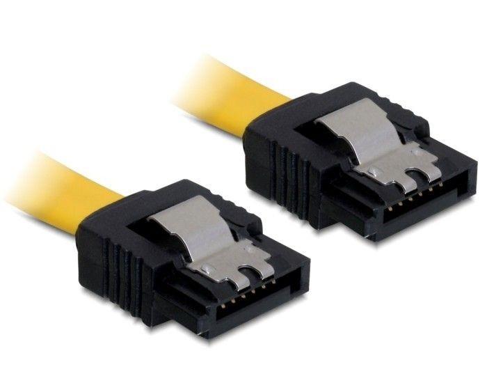 DeLOCK Kabel SATA II 0,3m z zatrzaskami metalowymi żółty