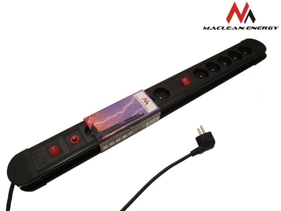 Maclean MCE10 Listwa zasilająca przedłużacz 10 gniazd z 2 włącznikami