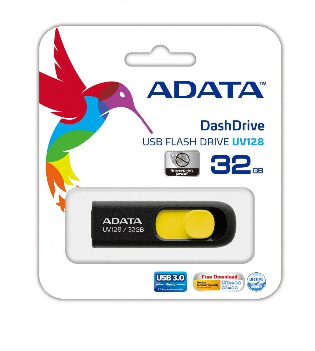 A-Data Adata pamięć USB DashDrive UV128 32GB USB 3.0 Czarny+Yellow