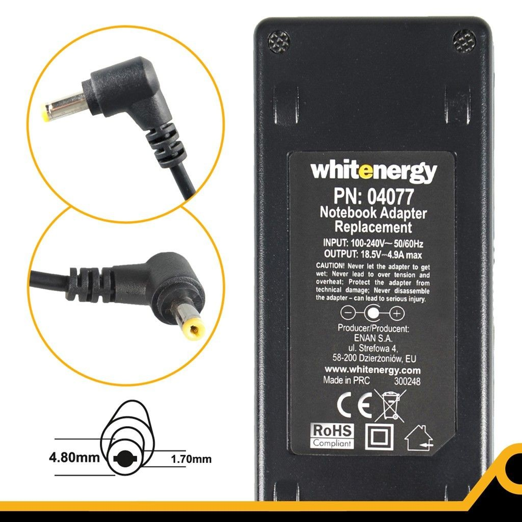Whitenergy Zasilacz Power Supply/ 18.5V 4.9A plug 4.8x1.7 mm