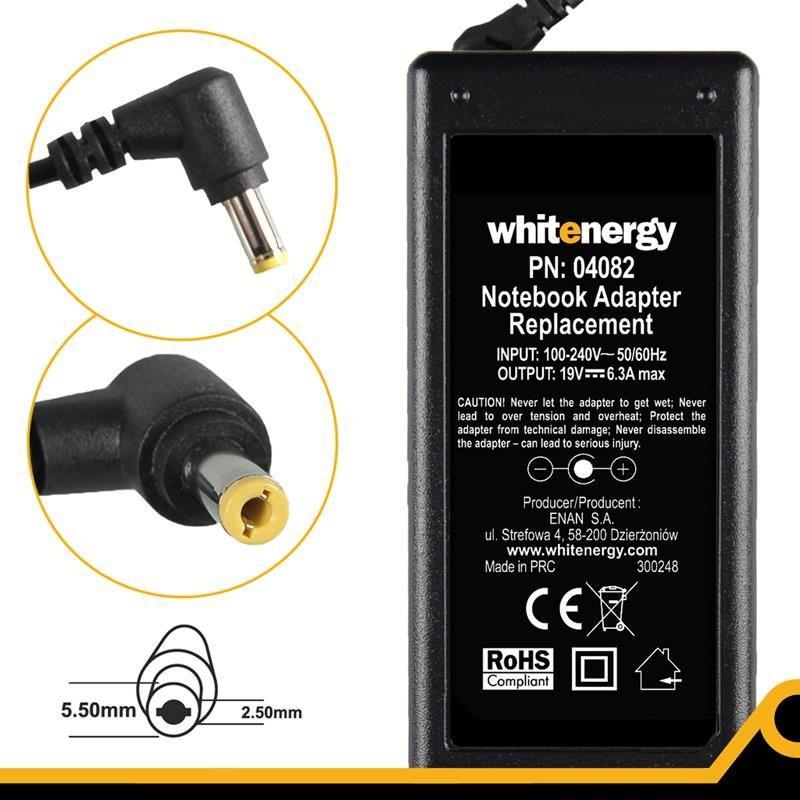 Whitenergy Zasilacz do laptopa 04082 19V, 6.3A, 120W, wtyk 5.5x2.5mm
