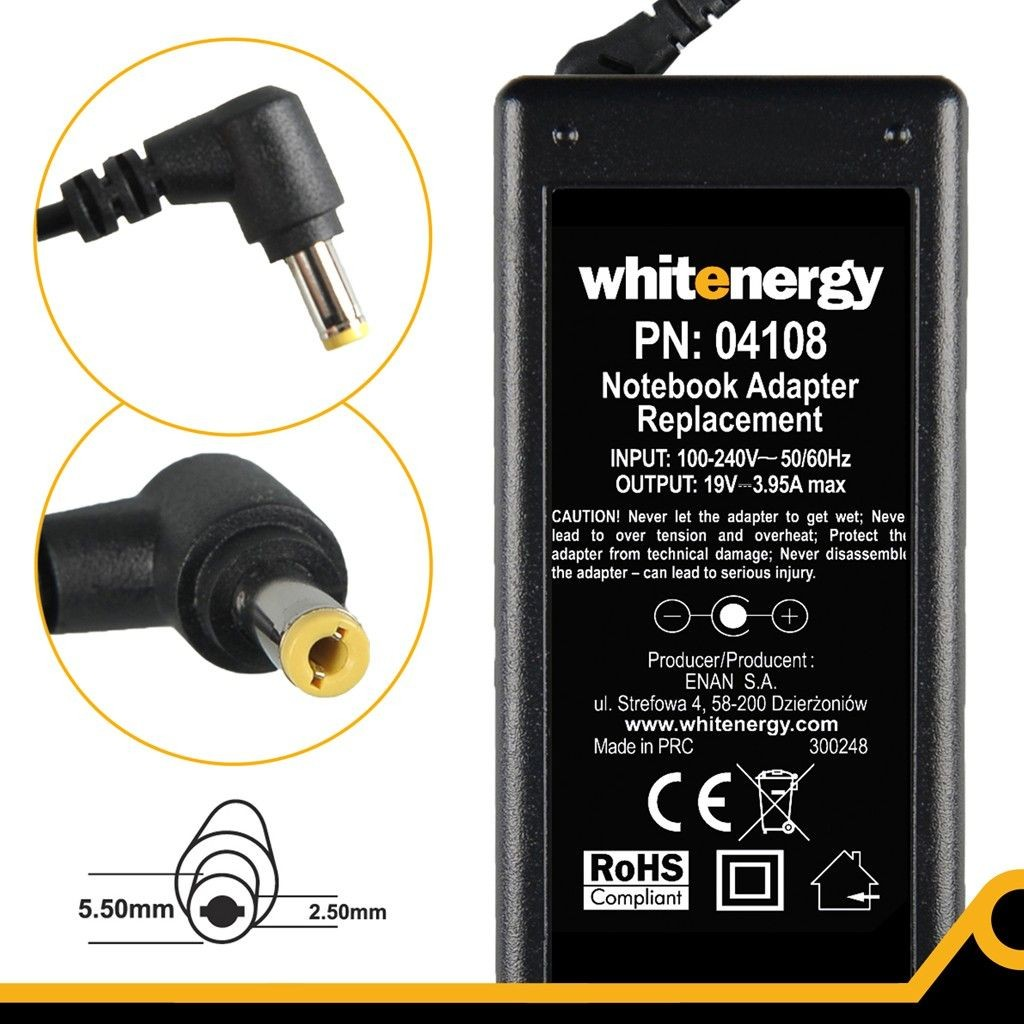 Whitenergy Zasilacz (04108) 19V | 3.95A 75W wtyk 5.5*2.5mm 04108
