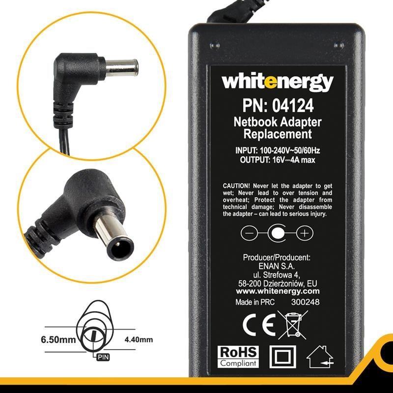 Whitenergy 04124 zasilacz 16V/4A 65W wtyczka 6.5x4.4mm + pin