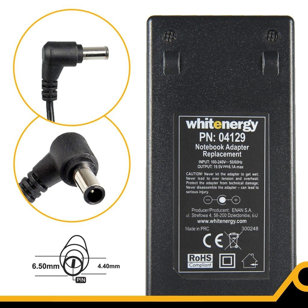 Whitenergy Zasilacz BatteryAC 230V/19.5V 6.15Aplug6.5x4.4 mm