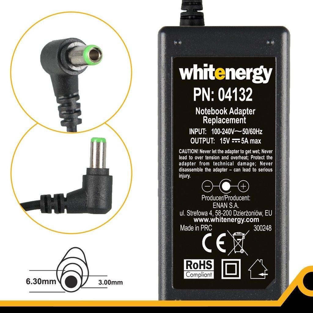 Whitenergy 04132 zasilacz 15V/5A 75W wtyczka 6.3x3.0mm Toshiba