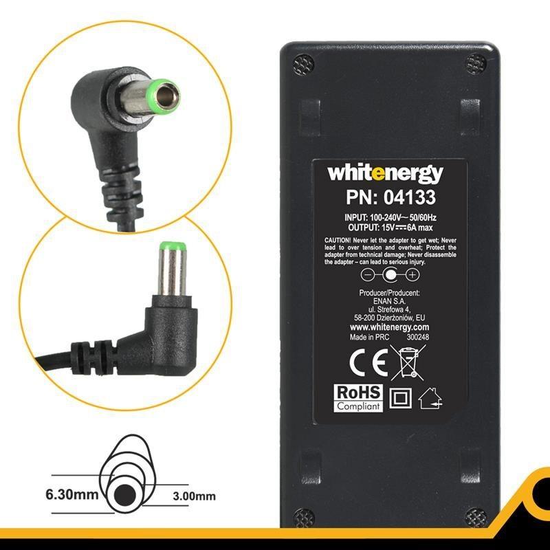 Whitenergy 04133 zasilacz 15V/6A 90W wtyczka 6.3x3.0mm Toshiba