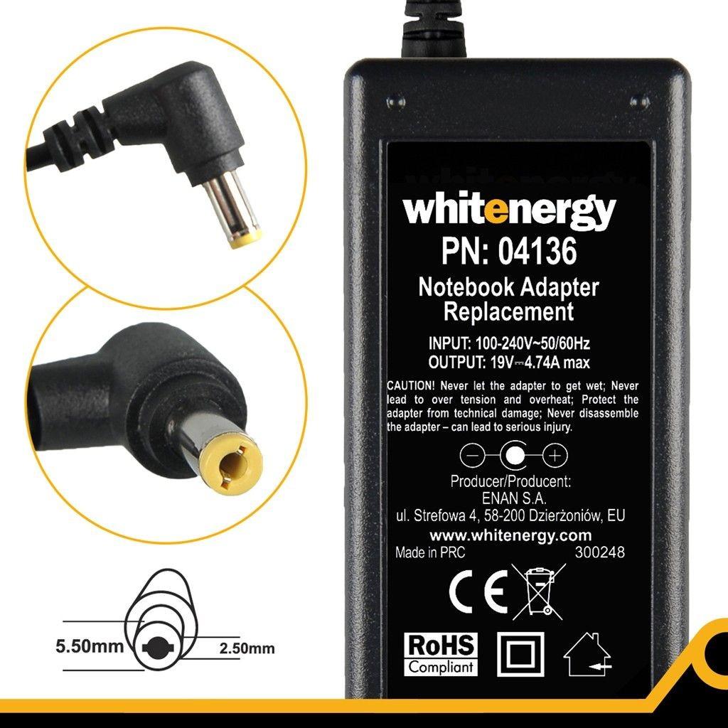 Whitenergy Zasilacz 19V | 4.74A 90W wtyk 5.5*2.5mm (04136)