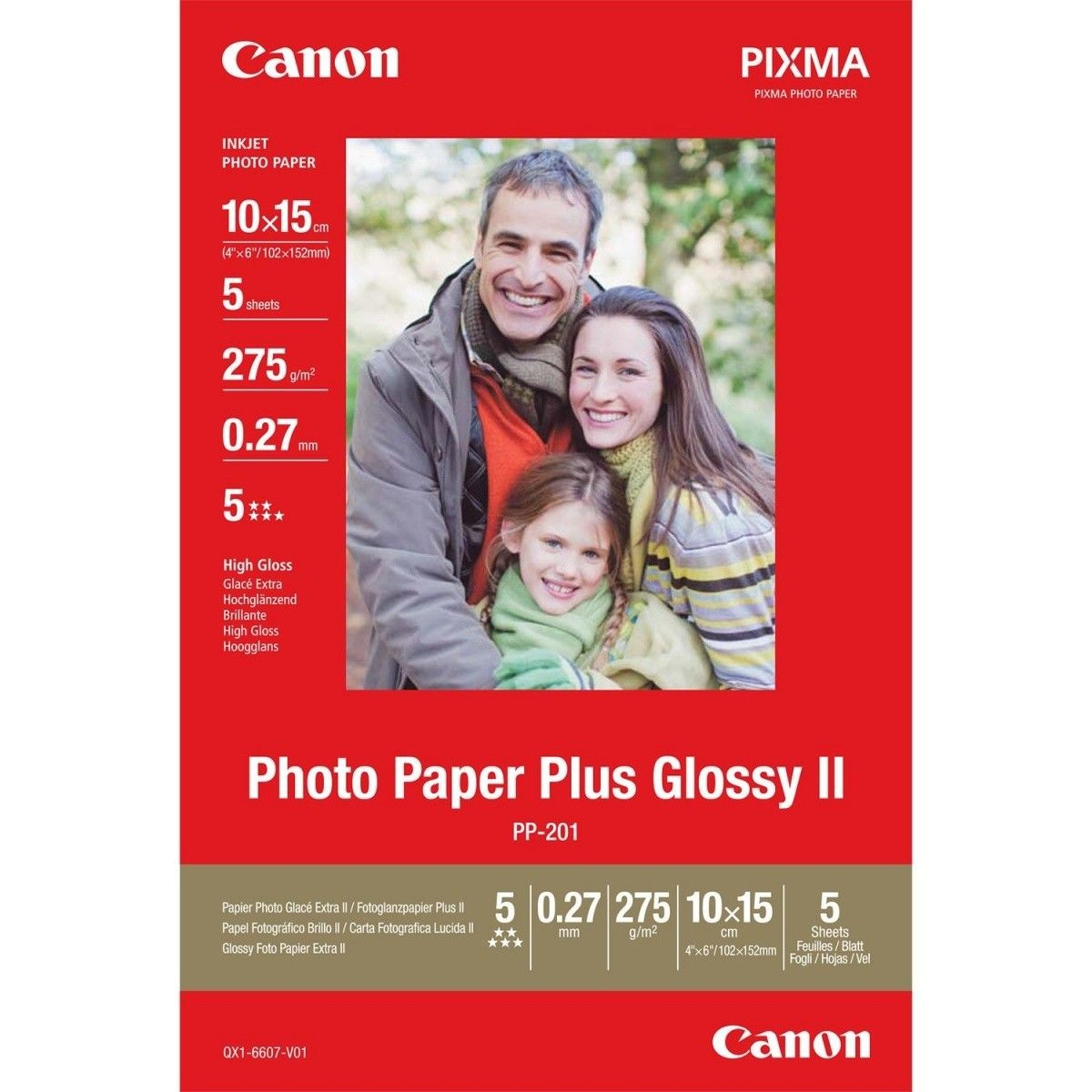 Canon Papier PP201 4x6 2311B053 10x15 5 sheets