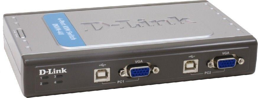 D-Link 4-Port USB KVM Switch Konsole/4-Port USB KVM Switch, Konsole: 1x VGA (DB-15), 2x USB 1.1 A-Port, PCs: 4x VGA (DB-15), 4x USB 1.1 B-Port,/ LED: Status/ Portanzahl: 4/
