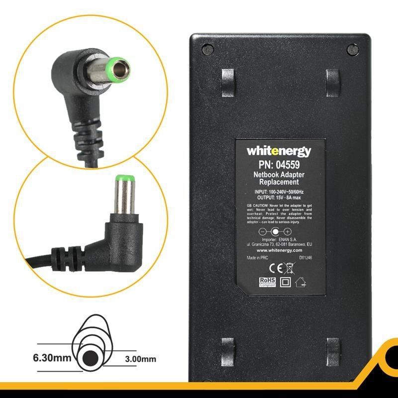 Whitenergy Zasilacz AC Ładowarka do laptopa 15V 8A 120W 6.3x3.0 mm